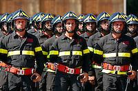 Una delle quattro donne di questo corso<br /> Roma 23-07-2015 Scuole centrali antincendio di Capannelle. Giuramento di 620 allievi Vigili del fuoco.<br /> Swearing of 620 cadets of the Firefighters<br /> Photo Samantha Zucchi Insidefoto