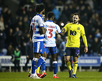 Blackburn Rovers' Bradley Dack shakes hands with Reading's Andy Yiadom at the end of the match<br /> <br /> Photographer Andrew Kearns/CameraSport<br /> <br /> The EFL Sky Bet Championship - Reading v Blackburn Rovers - Wednesday 13th February 2019 - Madejski Stadium - Reading<br /> <br /> World Copyright © 2019 CameraSport. All rights reserved. 43 Linden Ave. Countesthorpe. Leicester. England. LE8 5PG - Tel: +44 (0) 116 277 4147 - admin@camerasport.com - www.camerasport.com