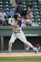 Shortstop Edgardo Fermin (10) of the Columbia Fireflies bats in a game against the Greenville Drive on Wednesday, April 18, 2018, at Fluor Field at the West End in Greenville, South Carolina. Columbia won 8-4. (Tom Priddy/Four Seam Images)