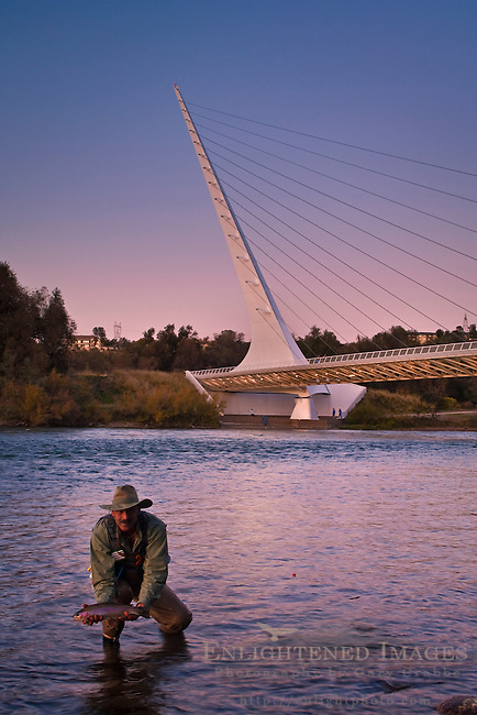 Fisherman in front of the Sundial Bridge on the Sacramento River, Redding, California