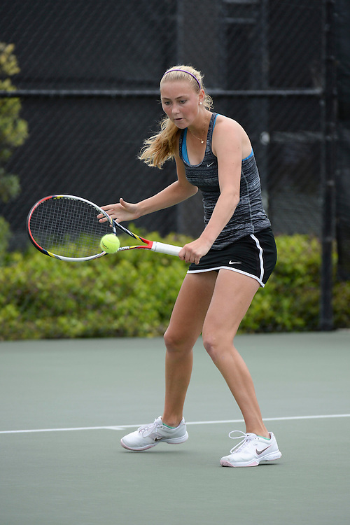 April 24, 2013; San Diego, CA, USA; San Francisco Dons player Sofia Holmberg during the WCC Tennis Championships at Barnes Tennis Center.