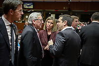 Pictured L-R: Claude Juncker and Greek Prime Minister Alexis Tsipras Thursday 18 February 2016<br /> Re: David Cameron looks set to secure European Union deal on Britain's reforms during a summit in Brussels, Belgium.