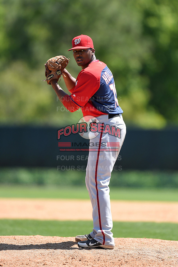 Washington Nationals pitcher L.J. Hollins (19) during a minor league spring training game against the Atlanta Braves on March 26, 2014 at Wide World of Sports in Orlando, Florida.  (Mike Janes/Four Seam Images)