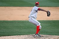April 10, 2010:  Pitcher Yunior Novoa of the Harrisburg Senators during a game at Blair County Ballpark in Altoona, PA.  Harrisburg is the Double-A Eastern League affiliate of the Washington Nationals.  Photo By Mike Janes/Four Seam Images