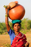 INDIA Chhattisgarh, Bastar, tribal Gond woman with clay pot coming from market / INDIEN Chhattisgarh , Bastar, Adivasi Frau des Gond Stammes, indische Ureinwohner, mit Ton Krug
