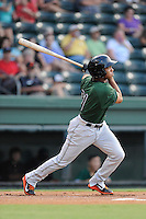 Center fielder Cristian Paulino (31) of the Augusta GreenJackets bats in a game against the Greenville Drive on Friday, July 11, 2014, at Fluor Field at the West End in Greenville, South Carolina. Greenville won, 7-6. (Tom Priddy/Four Seam Images)