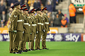 3rd November 2017, Molineux, Wolverhampton, England; EFL Championship football, Wolverhampton Wanderers versus Fulham; Rememberance day parade before the game starts