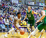 University at Albany men's basketball defeats Binghamton University 71-54  at the  SEFCU Arena, Feb. 27, 2018.  Costa Anderson (#1) and J.C. Show  (#33). (Bruce Dudek / Cal Sport Media/Eclipse Sportswire)