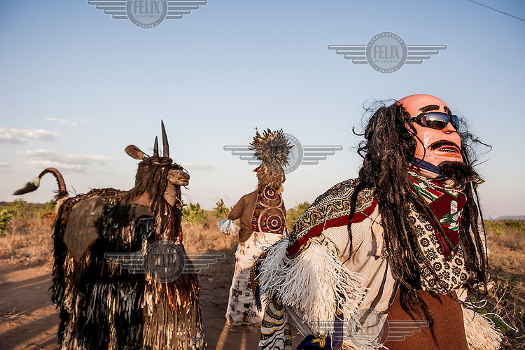Different types of Nyau wait for the beginning of the great spiritual dance of Chewa people, called Gule Wamkulu. Nyau are secret societies or brotherhoods initiation into which confers adulthood onto adolecent Chewa males. Their ritual masked dances are performed at various ceremonies and even at touristic and cultural events.