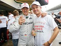 ATENCAO EDITOR: FOTO EMBARGADA PARA VEICULO INTERNACIONAL - SAO PAULO, SP 25 DE NOVEMBRO 2012 - FORMULA 1 GP BRASIL - O piloto alemao Michael Schumacher e o companheiro de equipe Nico Rosberg, da Mercedes GP, durante o Grande Premio do Brasil de Formula 1, no autodromo de Interlagos, zona sul da capital, neste domingo.FOTO: PIXATHLON - BRAZIL PHOTO PRESS