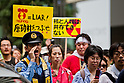 August 6, 2011 - Tokyo, Japan - A police officer yells at anti-nuclear protestors as they march on the streets in downtown Tokyo. August 6 marks the 66th anniversary of the US atomic bombing of Hiroshima in 1945 as Japan still continues to struggle to end the nuclear crisis since the March 11 earthquake and tsunami. (Photo by Christopher Jue/AFLO)