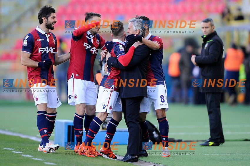 Esultanza Gol Emanuele Giaccherini con Roberto Donadoni Bologna Goal celebration <br /> Bologna 17-01-2016 Stadio Dall'Ara Football Calcio Serie A 2015/2016 Bologna - Lazio 2-2 Foto Insidefoto