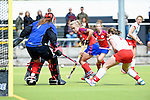 Mannheim, Germany, April 18: During the 1. Bundesliga Damen match between TSV Mannheim (white) and Mannheimer HC (red) on April 18, 2015 at TSV Mannheim in Mannheim, Germany. Final score 1-7 (1-4). (Photo by Dirk Markgraf / www.265-images.com) *** Local caption *** Friederike Schreiter #1 of TSV Mannheim, Lydia Haase #12 of Mannheimer HC, Sarah Schnotale #13 of TSV Mannheim