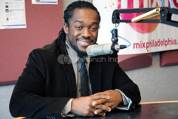 BALA CYNWYD, PA - MARCH 25 :  WWE Superstar Kofi Kingston visits Mix 106.1 and Power 99 iHeart Radio Performance Theater in Bala Cynwyd, Pa on March 25, 2013  © Star Shooter / MediaPunch Inc