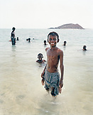 ERITREA, Beraasole, kids swim in the Red Sea in the fishing village of Beraasole