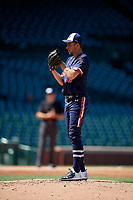Pitcher Nate Savino (30) during the Under Armour All-America Game, powered by Baseball Factory, on July 22, 2019 at Wrigley Field in Chicago, Illinois.  Nate Savino attends Potomac Falls High School in Sterling, Virginia and is committed to the University of Virginia.  (Mike Janes/Four Seam Images)