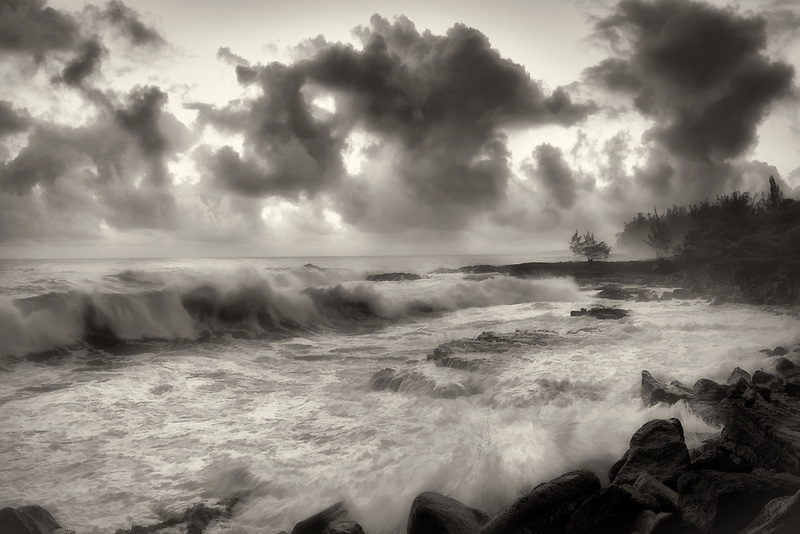 Waves and sunrise. The Puna Coast, Hawaii, The Big Island