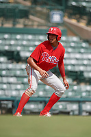 Philadelphia Phillies Jose Cedeno (16) leads off third base during a Florida Instructional League game against the Baltimore Orioles on October 4, 2018 at Ed Smith Stadium in Sarasota, Florida.  (Mike Janes/Four Seam Images)