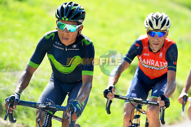 Nairo Quintana (COL) Movistar Team and Vincenzo Nibali (ITA) Bahrain-Merida on the slopes of Blockhaus during Stage 9 of the 100th edition of the Giro d'Italia 2017, running 149km from Montenero di Bisaccia to Blockhaus, Italy. 14th May 2017.<br /> Picture: LaPresse/Fabio Ferrari | Cyclefile<br /> <br /> <br /> All photos usage must carry mandatory copyright credit (&copy; Cyclefile | LaPresse/Fabio Ferrari)