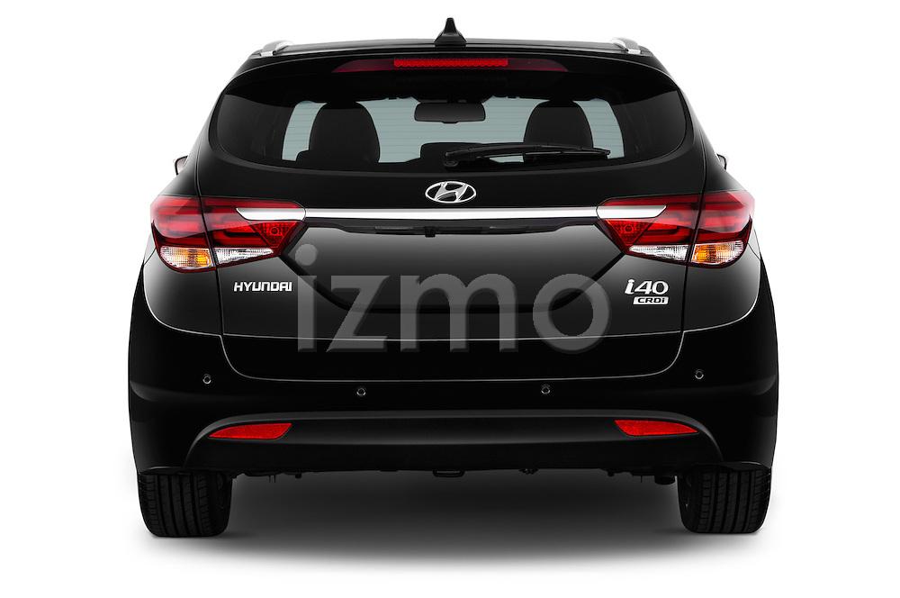 Straight rear view of 2015 Hyundai I40 Premium 5 Door Wagon Rear View  stock images
