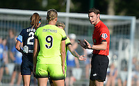 Kansas City, MO - Saturday June 25, 2016:  Shea Groom, Merritt Mathias, Referee Greg Dopka during a regular season National Women's Soccer League (NWSL) match at Swope Soccer Village.