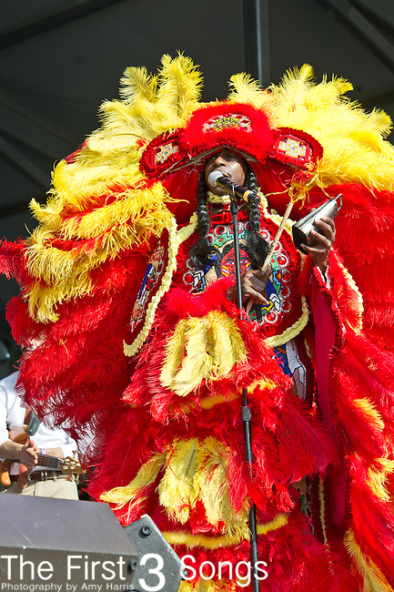 Donald Harrison, Jr. and the Mardi Gras Indians perform during the New Orleans Jazz & Heritage Festival in New Orleans, LA.