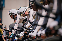 Chris Froome (GBR/SKY) on the start podium, focused & ready to roll<br /> <br /> Stage 3 (Team Time Trial): Cholet > Cholet (35km)<br /> <br /> 105th Tour de France 2018<br /> ©kramon