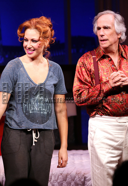 Ari Graynor & Henry Winkler during the Broadway Opening Night Performance Curtain Call for 'The Performers' at the Longacre Theatre in New York City on 11/14/2012