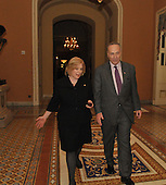 Washington, DC - January 27, 2009 -- United States Senator Kirsten Gillibrand (Democrat of New York), left, walks through the United States Capitol with United States Senator Chuck Schumer (Democrat of New York) in Washington, D.C. on Tuesday, January 27, 2009..Credit: Ron Sachs / CNP.(RESTRICTION: NO New York or New Jersey Newspapers or newspapers within a 75 mile radius of New York City)