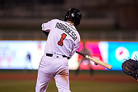 Lansing Lugnuts left fielder Dominic Abbadessa (1) during a Midwest League game against the Wisconsin Timber Rattlers at Cooley Law School Stadium on May 1, 2019 in Lansing, Michigan. Wisconsin defeated Lansing 2-1 in the second game of a doubleheader. (Zachary Lucy/Four Seam Images)