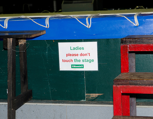 Bangkok, August 30,2011 Lumpini Muay Thai boxing stadium, Ladies Please Dont Touch the stage.