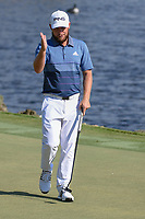 Tyrrell Hatton (ENG) after sinking his putt on 18 during round 1 of the Arnold Palmer Invitational at Bay Hill Golf Club, Bay Hill, Florida. 3/7/2019.<br /> Picture: Golffile | Ken Murray<br /> <br /> <br /> All photo usage must carry mandatory copyright credit (© Golffile | Ken Murray)