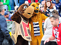 College Park, MD - NOV 25, 2017: Maryland Terrapins mascot and the Penn State Nittany Lion pose for a photo before game between Maryland and Penn State at Capital One Field at Maryland Stadium in College Park, MD. (Photo by Phil Peters/Media Images International)