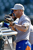 Hitting coach Joel Fuentes (12) of the Columbia Fireflies during batting practice before a game against the Lakewood BlueClaws on Saturday, May 6, 2017, at Spirit Communications Park in Columbia, South Carolina. Lakewood won, 1-0 with a no-hitter. (Tom Priddy/Four Seam Images)