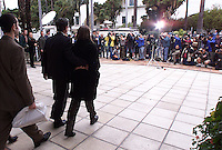 SANTA BARBARA, Calif.  (center)  Daniel and Diana Attias, parents  of 18-year-old  David Attias,  prepare to speak to reporters after appearance of their son in  Santa Barbara Superior Court Tuesday morning, the  arraignment, was postponed.   Attias  is  being held at the Santa Barbara County Jail, the University of California, Santa Barbara student has been arrested on suspicion of vehicular manslaughter and felony drunken driving after a speeding car careening down a quiet street killed four people off. A fifth person suffered serious injuries late Friday night during the incident in the small community of Isla Vista in suburban Santa Barbara.â The pedestrians were struck shortly after 11 p.m. Friday. Three males and one female were pronounced dead at the scene. .Photo by: Spencer Weiner/LA Times.DIGITAL IMAGE SHOT ON   02.27.2001