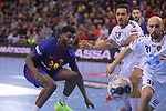 VELUX EHF 2017/18 EHF Men's Champions League Group Phase - Round 11.<br /> FC Barcelona Lassa vs HC Vardar: 29-28.<br /> Dika Mem vs Timur Dibirov.