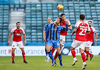 Fleetwood Town's Nathan Sheron competing with Gillingham's Billy Bingham<br /> <br /> Photographer Andrew Kearns/CameraSport<br /> <br /> The EFL Sky Bet League One - Gillingham v Fleetwood Town - Saturday 3rd November 2018 - Priestfield Stadium - Gillingham<br /> <br /> World Copyright &copy; 2018 CameraSport. All rights reserved. 43 Linden Ave. Countesthorpe. Leicester. England. LE8 5PG - Tel: +44 (0) 116 277 4147 - admin@camerasport.com - www.camerasport.com
