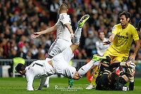 Real Madrid´s Portuguese forward Cristiano Ronaldo and Villareal´s goalkeeper Sergio Asenjo