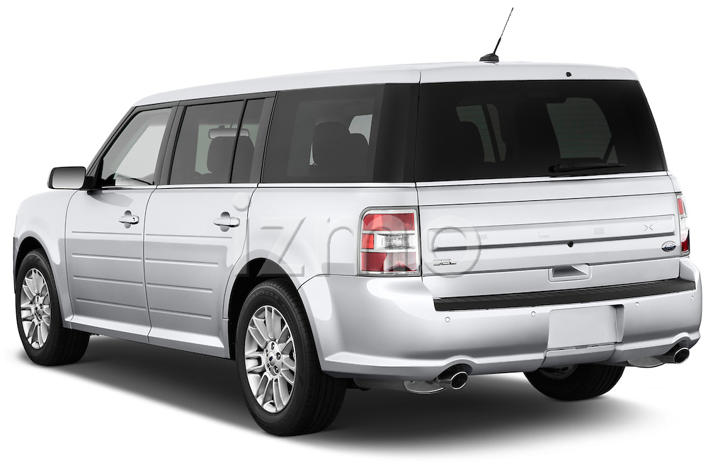 Rear three quarter view of a 2018 Ford Flex SEL