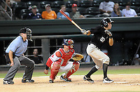 Outfielder Matt Den Dekker (22) of the Savannah Sand Gnats in Game 1 of the South Atlantic League Southern Division Championship against the Greenville Drive on Sept. 8, 2010, at Fluor Field at the West End in Greenville, S.C. Den Dekker was the fifth-round pick by the New York Mets in the 2010 First Year Player Draft. Photo by: Tom Priddy/Four Seam Images