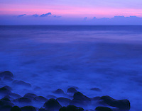 Daybreak over the Pacific Ocean along the Hamakua Coast of Hawaii. Kolekole Beach Park, Island of Hawaii.