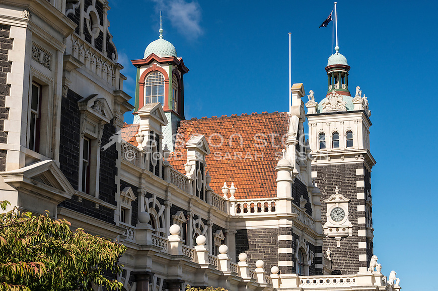 Close up side view of the Dunedin Railway Station, an iconic tourism destination in Dunedin City, South Island, New Zealand - stock photo, canvas, fine art print