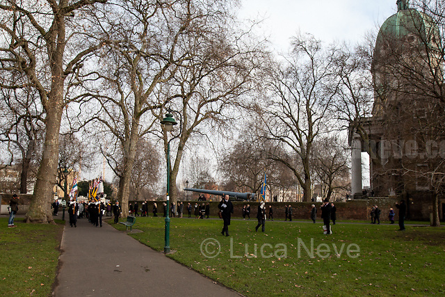 London, 27/01/2017. Today is the International Holocaust Day, also called Holocaust Memorial Day in UK and Italy. A day designated by the United Nations General Assembly resolution 60/7 on 1 November 2005 to remember the victims of the Holocaust: 6 million Jews, 2 million Gypsies (Roma and Sinti), 15,000 homosexual people, and millions of others killed by the Nazi regime and its collaborators. The 27th of January (1945) marks the day of the liberation by the Soviet Union Army of the largest death camp, Auschwitz-Birkenau.<br /> To coincide with the Holocaust Memorial Day the Southwark Council organised a remembrance outside the Imperial War Museum. The Mayor of Southwark, Councillor Kath Whittam, and the Representatives of the Russian Federation, amongst others, attended the commemoration to remember the victims of the Holocaust and other atrocities. A wreath laying and an act of remembrance were staged at The Soviet War Memorial and The Holocaust Memorial Tree in Geraldine Mary Harmsworth Park from 11.30am. This year marks the 72nd anniversary of the liberation of Auschwitz concentration camp, commemorating the millions of people killed in the Holocaust, under Nazi persecution and in subsequent genocides in Cambodia, Rwanda, Bosnia, and Darfur.<br /> <br /> For more information please click here: http://hmd.org.uk/events/2016/holocaust-memorial-day-smtf-southwark-council-and-imperial-war-museum/fri-13012017-1351
