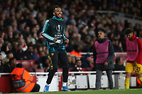Pierre-Emerick Aubameyang of Arsenal, named as substitute, warms up in the first half during Arsenal vs Standard Liege, UEFA Europa League Football at the Emirates Stadium on 3rd October 2019