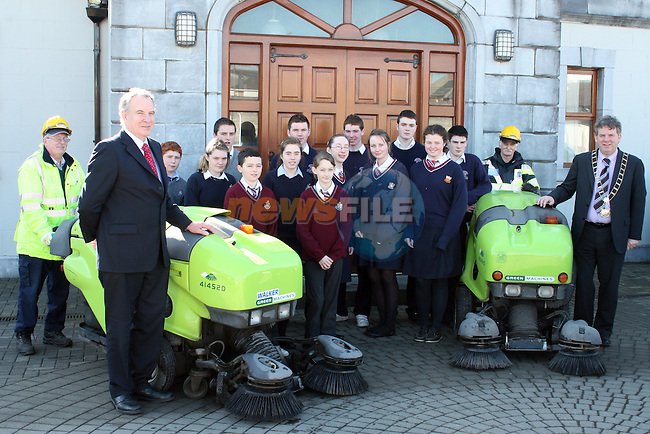 Mayor Michael O'Dowd and Cllr. Oliver Tully with students from Sacred Heart, Greenhills, St. Olivers, St. Josephs and St. Mary's at the Launch of the School Litter Prevention Awards...Photo NEWSFILE/Jenny Matthews.(Photo credit should read Jenny Matthews/NEWSFILE)....This Picture has been sent you under the condtions enclosed by:.Newsfile Ltd..The Studio,.Millmount Abbey,.Drogheda,.Co Meath..Ireland..Tel: +353(0)41-9871240.Fax: +353(0)41-9871260.GSM: +353(0)86-2500958.email: pictures@newsfile.ie.www.newsfile.ie.FTP: 193.120.102.198.
