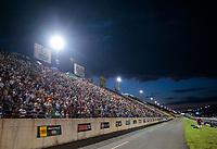 Jul 19, 2019; Morrison, CO, USA; Overall view of fans in the mountainside grandstand seats during NHRA qualifying for the Mile High Nationals at Bandimere Speedway. Mandatory Credit: Mark J. Rebilas-USA TODAY Sports