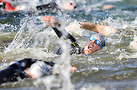 10 MAY 2009 - GRENDON,GBR - Competitors in the second wave set off - Grendon Triathlon (PHOTO (C) NIGEL FARROW)