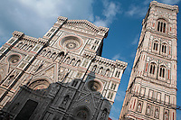 Bell Tower and facade, Cathedral Santa Maria del Fiore, Florence, Italy , also known as the Duomo, begun in 1296 by Arnolfo di CAMBIO, dome by Filippo BRUNELLESCHI, 1377-1446, completed in 1436, Bell Tower designed by GIOTTO, 1267-1337, pictured on June 8 2007.
