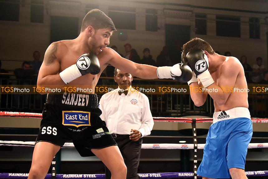 Sanjeev Sahota (black shorts) defeats Elemir Rafael during a Boxing Show at York Hall on 24th February 2017