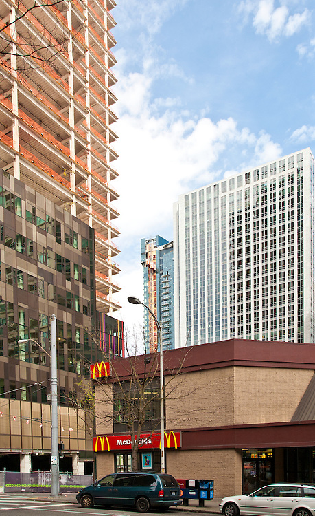 Seattle, Macdonalds dwarfed by Rufus 2.0, Amazon's new headquarters, under construction, Denny Triangle,